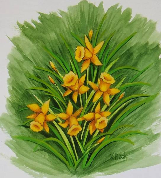 Wall Art - Painting - Daffodils by Katherine Young-Beck