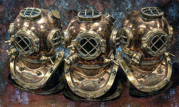 Scuba Diving Wall Art - Photograph - 3 Deep-diving Helmets by Daniel Hagerman
