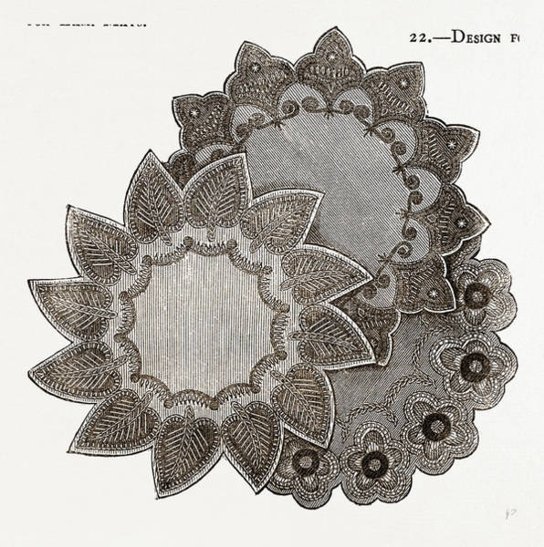 Mat Drawing - Design For Lamp Mats, Needlework by Litz Collection