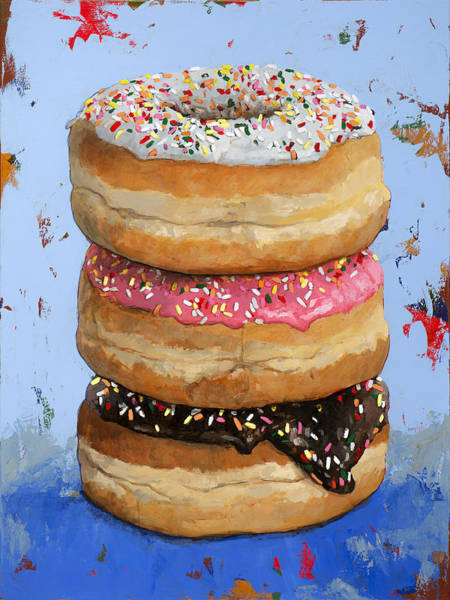 Retro Painting - 3 Donuts #2 by David Palmer