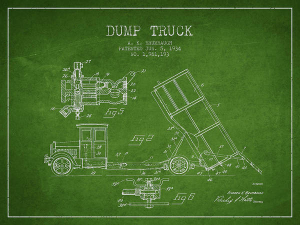 Truck Digital Art - Dump Truck Patent Drawing From 1934 by Aged Pixel