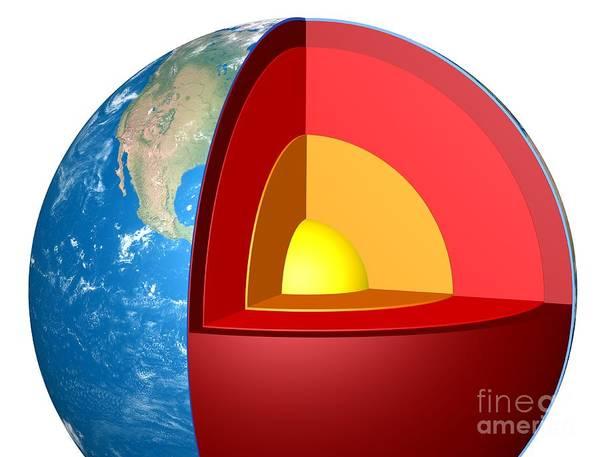 Wall Art - Photograph - Earth's Internal Structure, Artwork by Claus Lunau