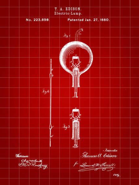 Wall Art - Digital Art - Edison Light Bulb Patent 1880 - Red by Stephen Younts