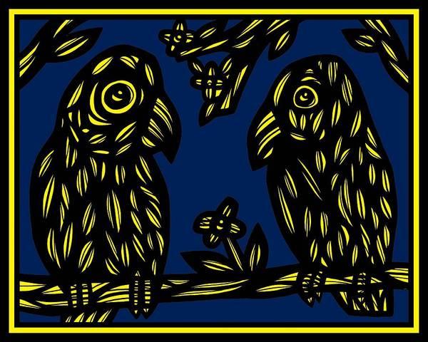 Blue Parrot Drawing - Elemental Tales by Eddie Alfaro