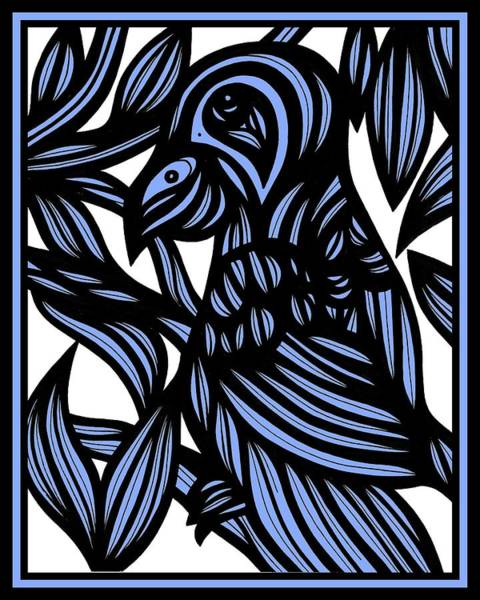 Blue Parrot Drawing - Final Secrets by Eddie Alfaro