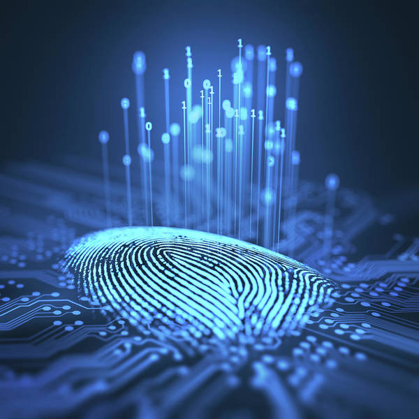 Photograph - Fingerprint And Printed Circuit Board by Ktsdesign/science Photo Library