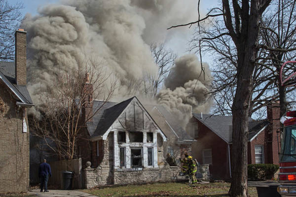 Engine House Wall Art - Photograph - Firefighters Attending A House Fire by Jim West