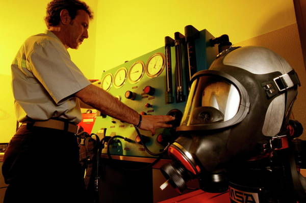 Checking Photograph - Firefighting Breathing Equipment by Mauro Fermariello/science Photo Library