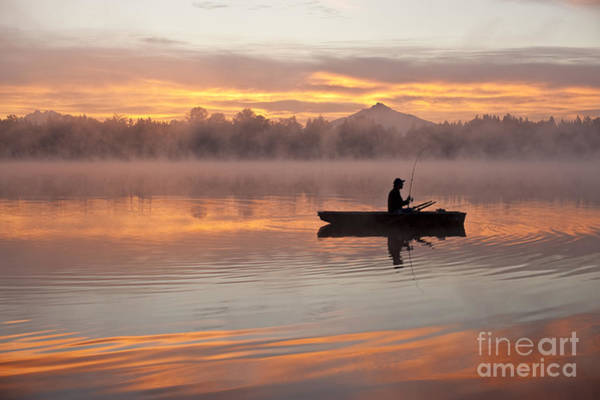 Photograph - Fisherman In Boat Lake Cassidy by Jim Corwin