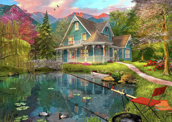 Wall Art - Painting - Fishing Retreat by MGL Meiklejohn Graphics Licensing