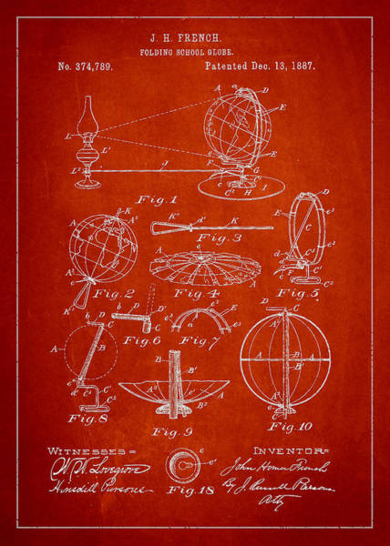 Red Planet Digital Art - Folding School Globe Patent Drawing From 1887 by Aged Pixel