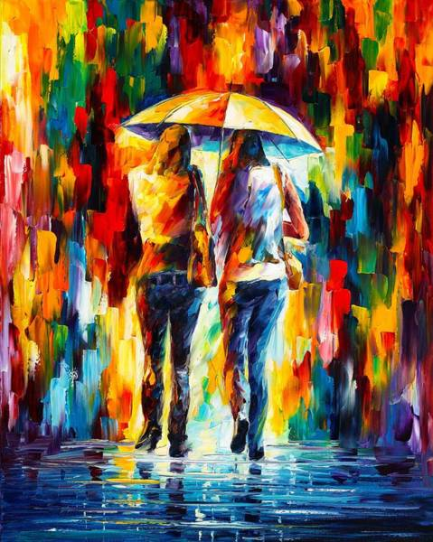Wall Art - Painting - Friends Under The Rain by Leonid Afremov