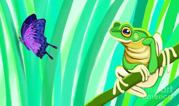 Wall Art - Painting - Frog And Butterfly by Nick Gustafson