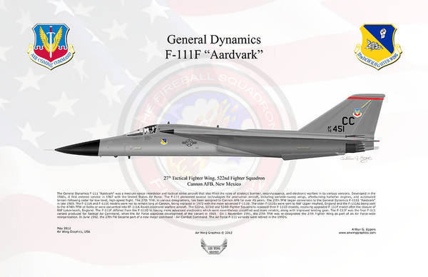 General Dynamics Digital Art - General Dynamics F-111f Aardvark by Arthur Eggers