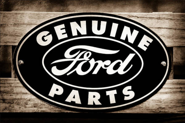 Car Part Photograph - Genuine Ford Parts Sign by Jill Reger
