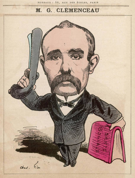 Gill Drawing - Georges Clemenceau  French Statesman by Mary Evans Picture Library