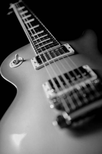 Fret Board Photograph - Gibson Electric Guitar Bw Artistic Image  by Jani Bryson