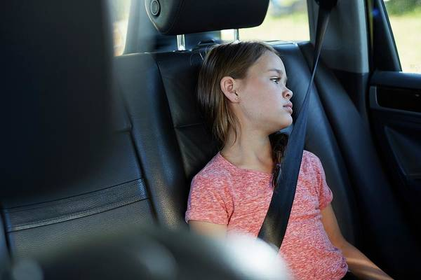 View Through Window Photograph - Girl Wearing Seat Belt by Science Photo Library