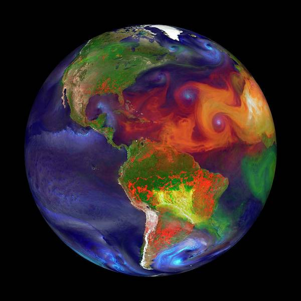Global Fires Art Print by William Putman/nasa Goddard Space Flight Center