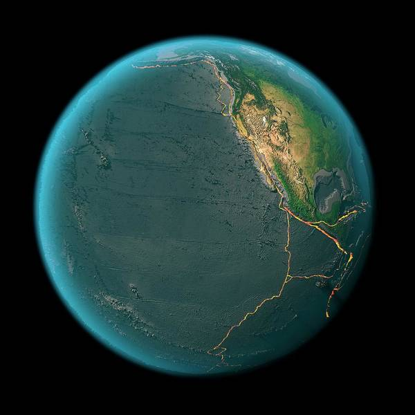 Fire Ring Photograph - Global Tectonics by Karsten Schneider/science Photo Library