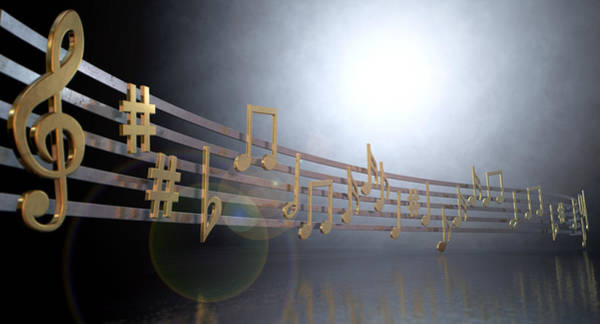 Compose Wall Art - Digital Art - Gold Music Notes On Wavy Lines by Allan Swart