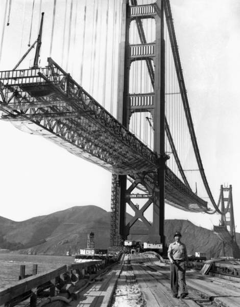 Historic Site Photograph - Golden Gate Bridge Work by Underwood Archives