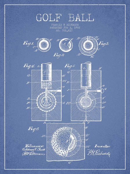 Pga Digital Art - Golf Ball Patent Drawing From 1902 by Aged Pixel