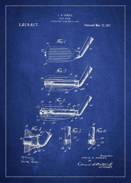 Pga Digital Art - Golf Club Patent Drawing From 1917 by Aged Pixel