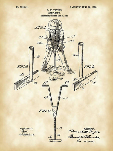 Wall Art - Digital Art - Golf Club Patent 1904 - Vintage by Stephen Younts