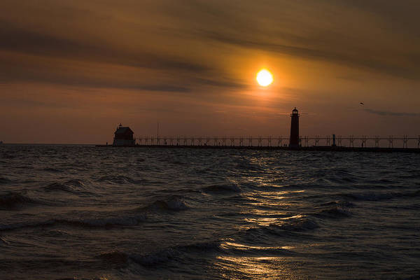 Photograph - Grand Haven South Pier Lighthouse Mi by Jack R Perry
