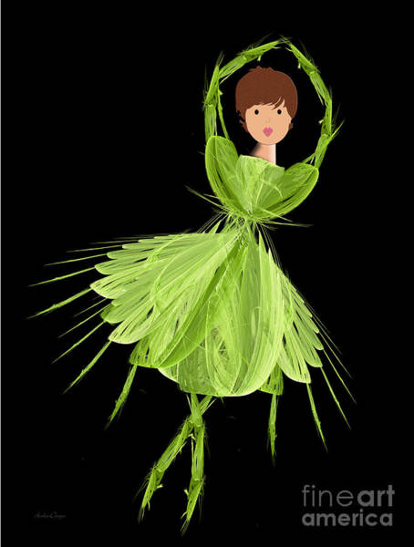 Digital Art - 3 Green Ballerina by Andee Design