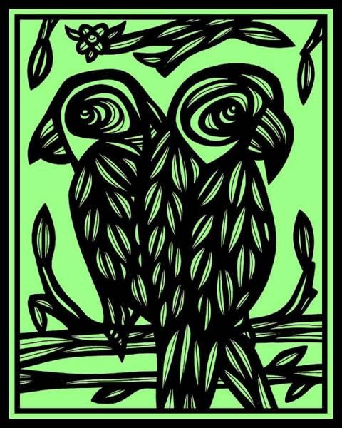 Green Parrot Drawing - Green Windows by Eddie Alfaro