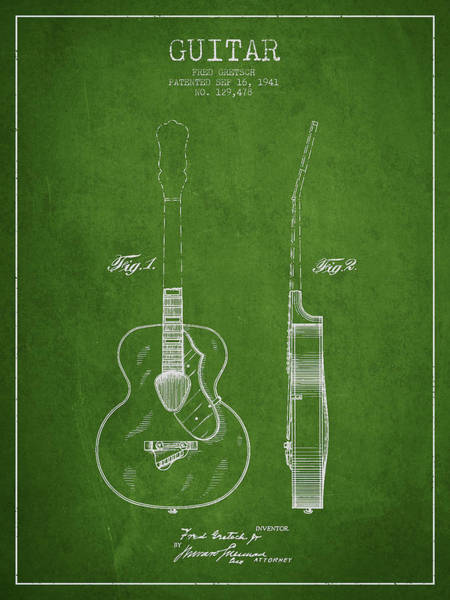 Wall Art - Digital Art - Gretsch Guitar Patent Drawing From 1941 - Green by Aged Pixel
