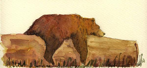 Brown Painting - Grizzly Bear by Juan  Bosco