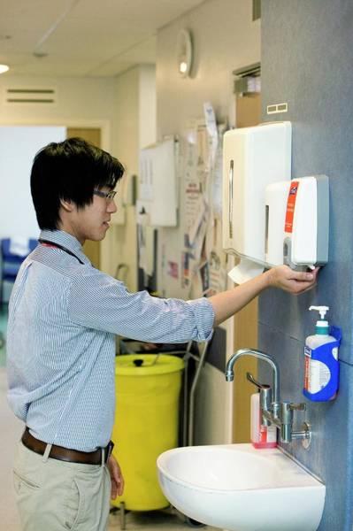 Dispenser Photograph - Hospital Hygiene by Mark Thomas/science Photo Library