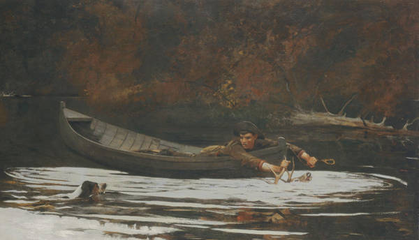 Antlers Painting - Hound And Hunter by Winslow Homer