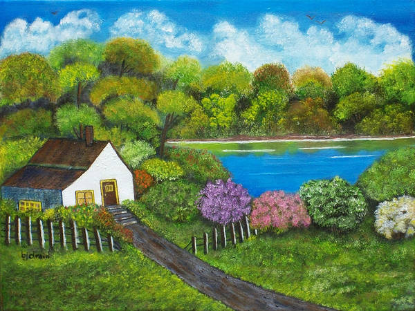 Water Foul Painting - House By The Lake by Brenda  Drain