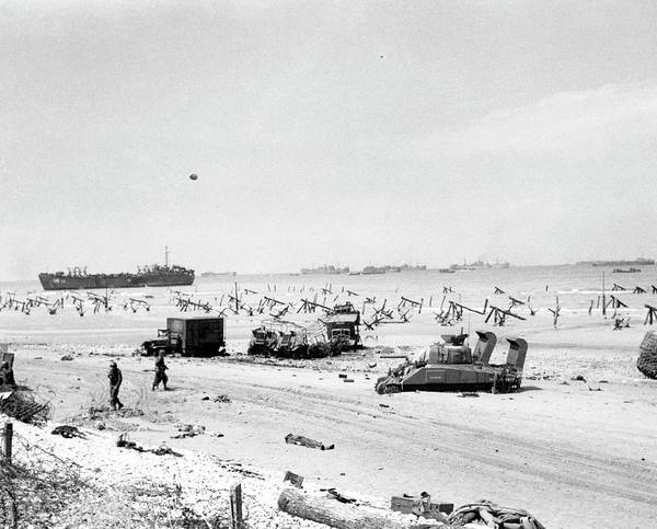 Sherman Photograph - Invasion Of Normandy by Us Navy