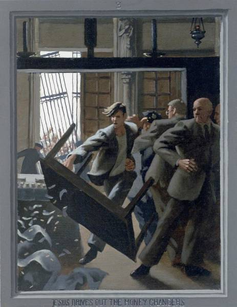 Wall Art - Painting - 3. Jesus Drives Out The Money Changers / From The Passion Of Christ - A Gay Vision by Douglas Blanchard