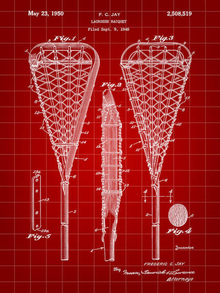 Lax Digital Art - Lacrosse Stick Patent 1948 - Red by Stephen Younts