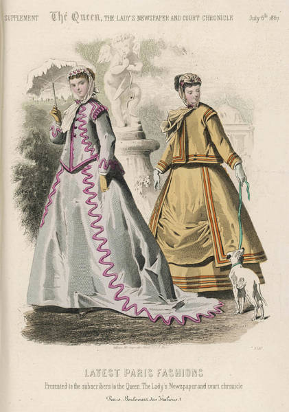 Wall Art - Drawing - Latest Paris Fashion Of 1867 by Mary Evans Picture Library