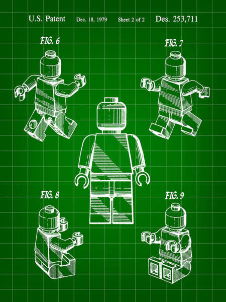 Wall Art - Digital Art - Lego Figure Patent 1979 - Green by Stephen Younts