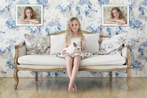 Couch Wall Art - Photograph - 3 Little Girls And A White Rabbit by Victoria Ivanova