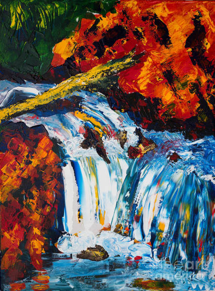 Log And Waterfall Art Print