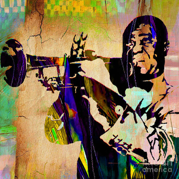 Trumpet Mixed Media - Louis Armstrong Collection by Marvin Blaine