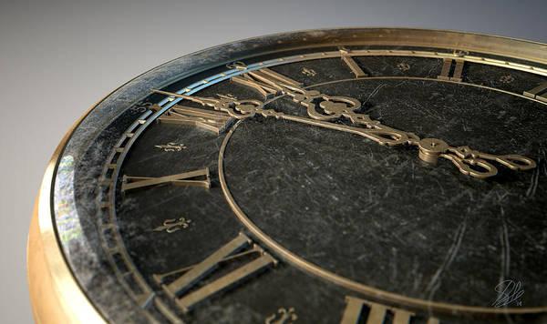 Fleur Digital Art - Macro Antique Watch Midnight by Allan Swart