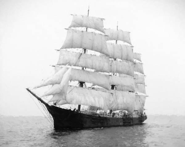 Schooner Digital Art - 3 Masted Ship Mary L. Cushing by Daniel Hagerman