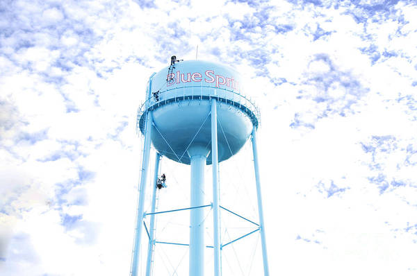 Photograph - 3 Men Painting The Blue Springs Water Tower by Andee Design