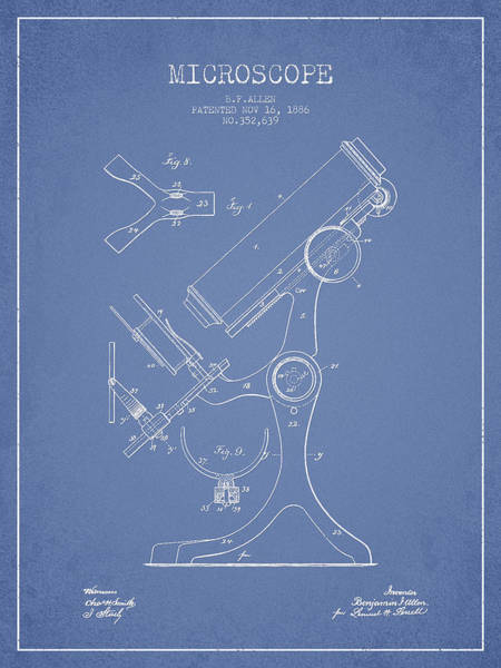 Wall Art - Digital Art - Microscope Patent Drawing From 1886 - Light Blue by Aged Pixel