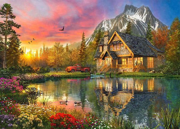 Wall Art - Painting - Mountain Cabin by MGL Meiklejohn Graphics Licensing